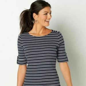Christopher & Banks 3/4 Sleeve Boatneck T-Shirt